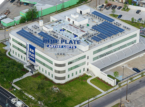 Installation on blue plate building in new orleans